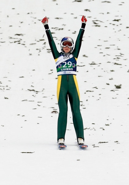 Sarah Hendrickson from the U.S. competes to place third at the Ski Jumping World Cup women's event in Ljubno, Slovenia, Saturday, Feb. 14, 2015. (AP Photo/Darko Bandic)