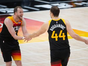 (Francisco Kjolseth  | The Salt Lake Tribune) Utah Jazz forward Joe Ingles (2) cheers on Utah Jazz forward Bojan Bogdanovic (44) following his three pointer as the Utah Jazz take on the Miami Heat at Vivint Smart Home Arena in Salt Lake City, on Saturday, Feb. 13, 2021.