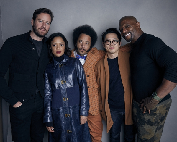 (File photo by Taylor Jewell, Invision via Associated Press) Armie Hammer, from left, Tessa Thompson, director Boots Riley, Steven Yeun and Terry Crews pose for a portrait to promote