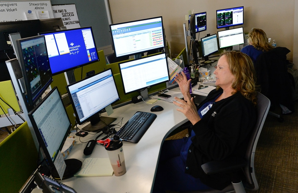 (Francisco Kjolseth | The Salt Lake Tribune) Critical Care Nurse Crystal Hale connects with doctors and patients remotely from the Telecritical Care Center in Midvale. Intermountain Healthcare announced the launch of one of the nation's largest virtual hospital services. It will involve 500 caregivers, offering telehealth services on everything from basic care to stroke evaluation and newborn critical care. The Virtual Hospital Services Testing Laboratory showcased several medical services on Wednesday, Feb. 28, 2018,.