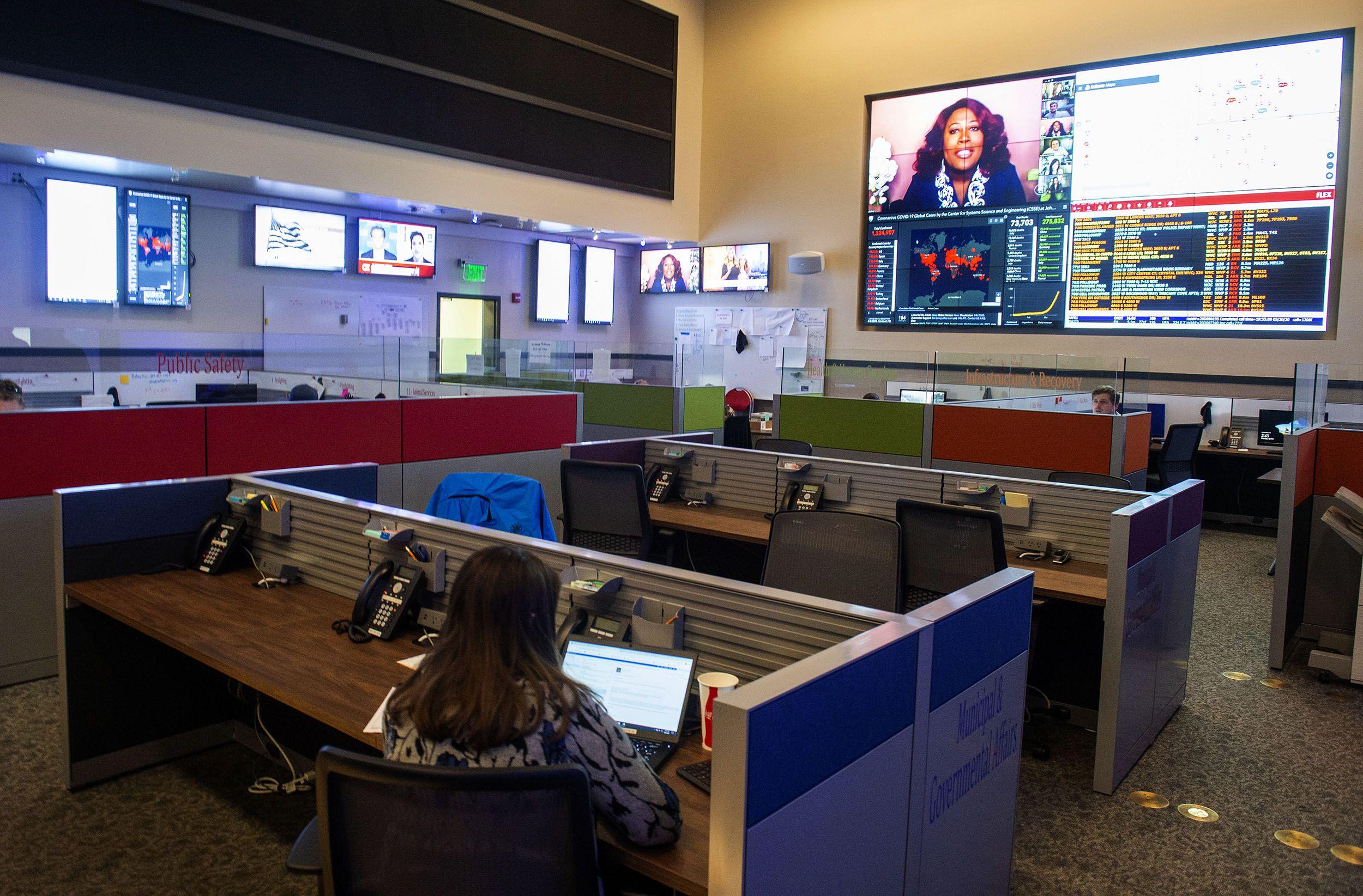 (Rick Egan  |  The Salt Lake Tribune)   The Operations Center, at the Salt Lake County Emergency Management Center, Monday April 6, 2020