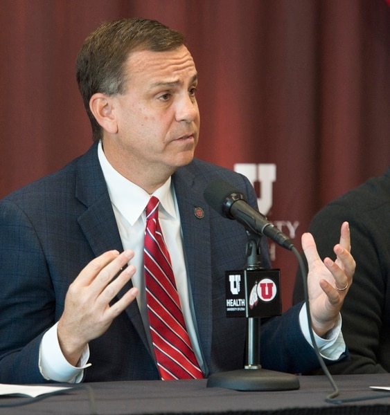 (Rick Egan | The Salt Lake Tribune) University of Utah athletic director Mark Harlan talks about the new stadium expansion, during a news conference, at Rice-Eccles stadium, Wednesday, Nov. 14, 2018.