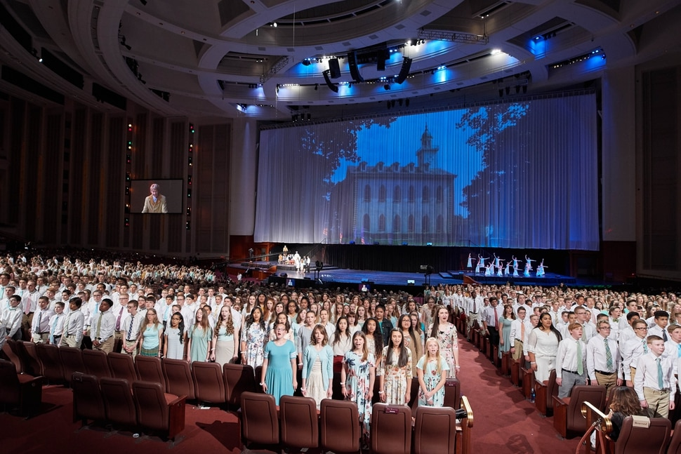 (Courtesy LDS Church) The history of The Church of Jesus Christ of Latter-day Saints was displayed by 17,000 young women and men during the cultural celebration marking the completion of the Jordan River Temple. The celebration was held in the Conference Center on May 19, 2018.