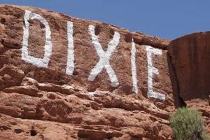"(Chris Caldwell | AP)""DIXIE"" is painted on a sandstone rock formation in St. George, Utah, near Dixie State University. The school can now move forward with possibly changing its name after a final vote from the Legislature on March 3, 2021."
