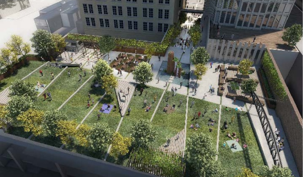 (Renderings courtesy of Salt Lake City Redevelopment Agency) The skyscraper project proposed on the site of Utah Theater by Hines and LaSalle could include a public green space, tentatively dubbed Pantages Park, linked to Main Street by a mid-block walkway.
