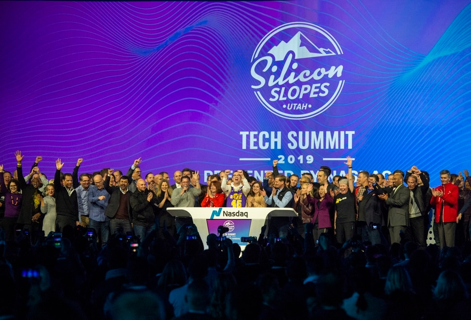 (Rick Egan | The Salt Lake Tribune) Participants cheer at the closing bell of the stock market, during the 3rd annual Silicon Slopes Tech Summit, at Calvin L. Rampton Salt Palace Convention Center. Thursday, Jan. 31, 2019.