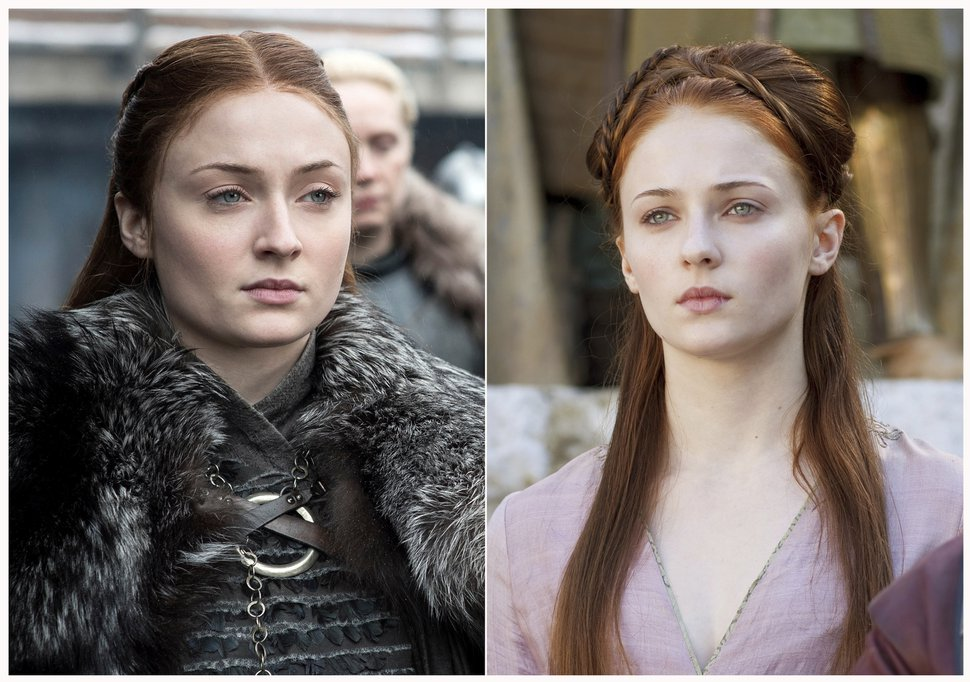 (HBO via AP) This combination photo of images released by HBO shows Sophie Turner portraying Sansa Stark in