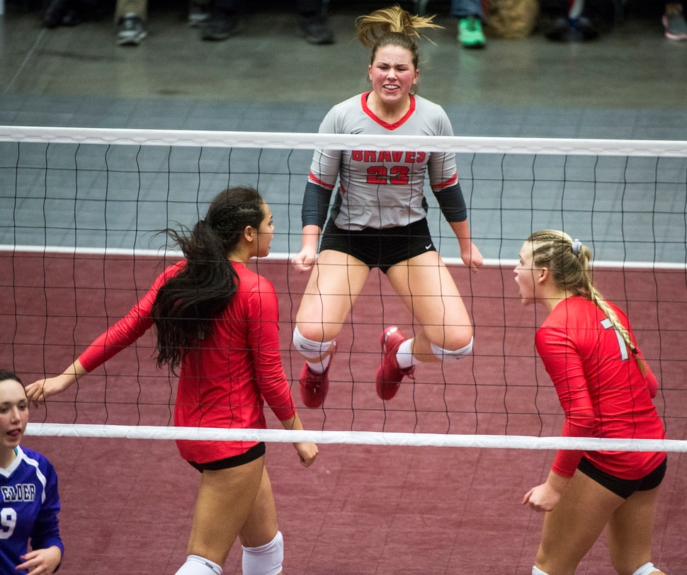 (Rick Egan | The Salt Lake Tribune) Bountiful Braves Holland Vande mere (23) celebrates as Bountiful closes in Boxelder in the second match, in 5A volleyball championship game, Bountiful vs. Box Elder, at Utah Valley University, Saturday, November 4, 2017.
