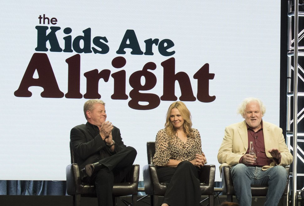 """(Photo courtesy ABC/Image Group LA) Michael Cudlitz, Mary McCormack and Tim Doyle, the creator/executive producer of """"The Kids Are Alright,"""" take questions from members of the Television Critics Association."""