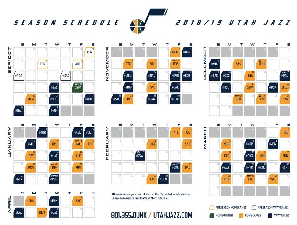 Utah Jazz 2018-19 schedule