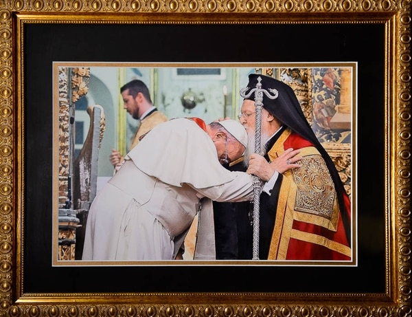 (Trent Nelson | The Salt Lake Tribune) A 2014 photo of Pope Francis and Orthodox Church Patriarch Bartholomew I hangs in the St. Thomas More Catholic Church, which shares space with St. Anna Greek Orthodox Church, in Cottonwood Heights, Friday, Aug. 3, 2018.