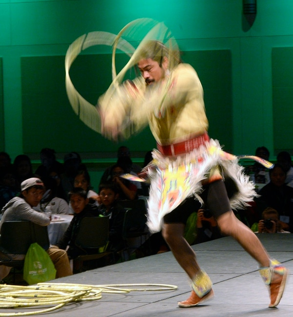 Al Hartmann | The Salt Lake Tribune Carl Moore, Jr., a member of the Hopi Tribe performs a hoop dance in a cultural performance at the 2017 Governor's Native American Summit at Utah Valley University Thursday July 20. Native Americans from eight Utah tribes gathered to discuss educational and economic success , strengthening family relationships and celebrating Native culture.