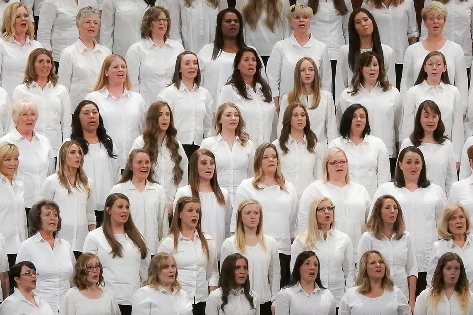 (Trent Nelson | Tribune file photo) A Relief Society choir sings at the 187th Semiannual General Conference of the The Church of Jesus Christ of Latter-day Saints, in Salt Lake City, Saturday, Sept. 23, 2017.