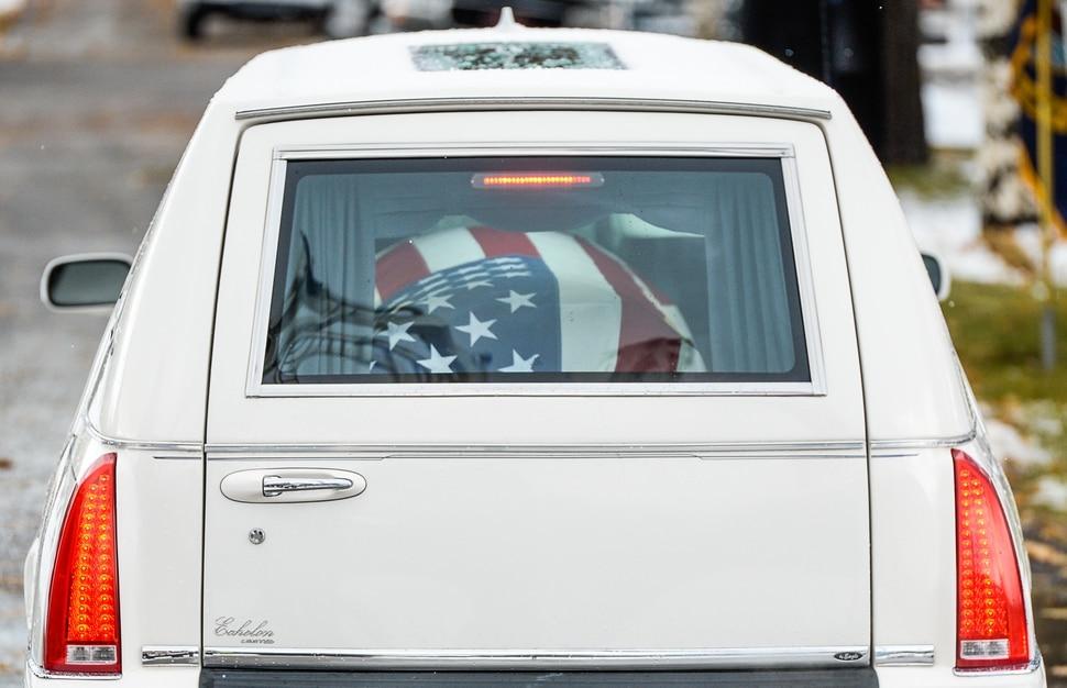 (Francisco Kjolseth   The Salt Lake Tribune) The flag-draped casket of former congressman Jim Hansen arrives at the Farmington City Cemetery, Saturday, Nov. 24, 2018.