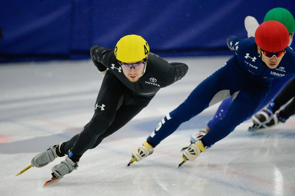 (Francisco Kjolseth | The Salt Lake Tribune) Ryan Pivirotto, left, competes in the 2000 meter mixed semifinal relay race as part of the U.S. Short Track Speedskating championships on Friday, Jan. 3, 2020, at the Utah Olympic Oval in Kearns.