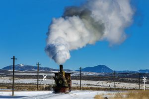 (Rick Egan | The Salt Lake Tribune) The 119 Steam Engine chugs down the track at the Golden Spike National Historical Park during one of the winter steam locomotive demonstrations, on Tuesday, Dec. 29, 2020.