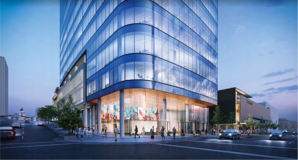 (Photo courtesy of Skidmore, Owings & Merrill via Salt Lake City Planning Division) Rendering of the street-level view of a new 28-story office tower proposed by LDS Church-owned City Creek Reserve at the northeast corner of State Street and 100 South in Salt Lake City.
