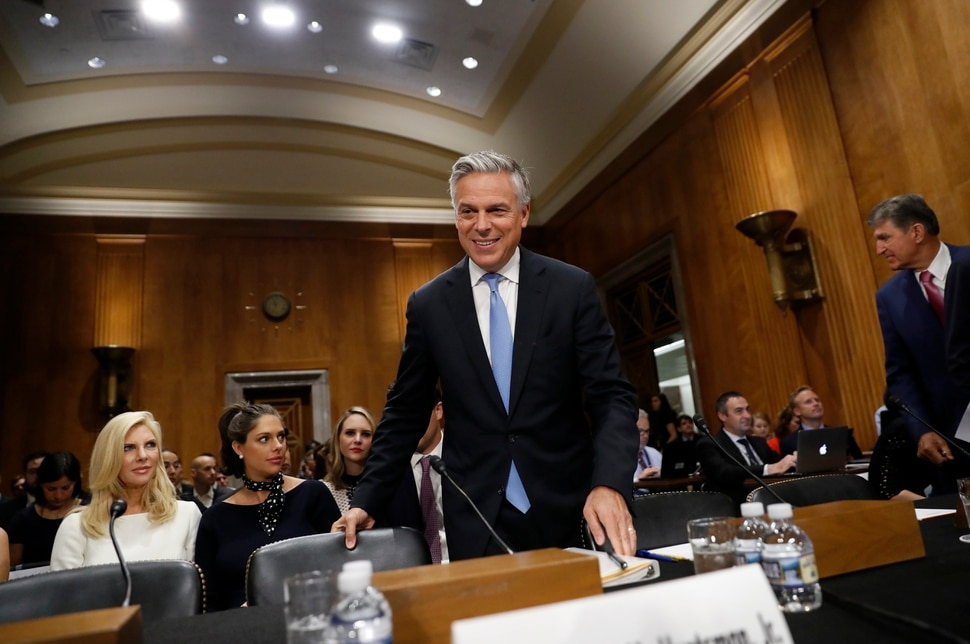 (AP Photo/Alex Brandon) Former Utah Gov. Jon Huntsman takes his seat for a hearing of the Senate Foreign Relations Committee on his nomination to become the U.S. ambassador to Russia, on Capitol Hill, Tuesday, Sept. 19, 2017 in Washington.