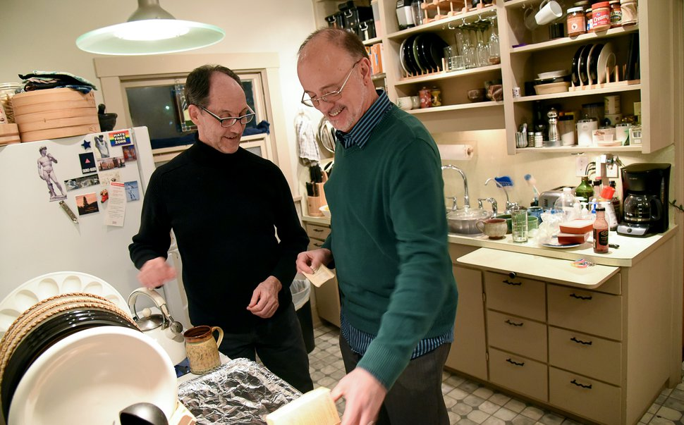 (Francisco Kjolseth | The Salt Lake Tribune) Brian Benington, left, and Duane Jennings, who have been together since 2005, gather in the kitchen of their home in Salt Lake City recently. The two married in Salt Lake County on Dec. 23, 2013, following the Kitchen v. Herbert decision that came down a few days prior on Dec. 20.