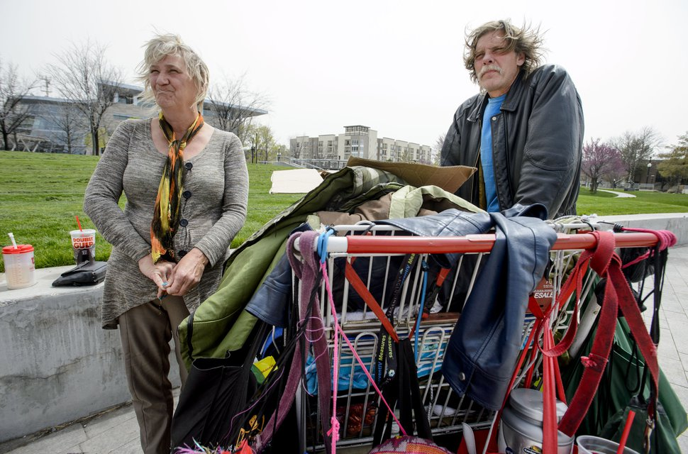 (Steve Griffin | Tribune file photo) Katherine and Ronald Barrett Jr. talk about being homeless and the difficultly of trying to find a place to sleep, on the grounds of the Salt Lake City Main Library, April 16, 2018. The couple has now been in housing for several months, thanks to a federal voucher.