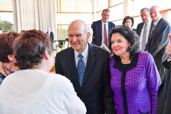 (Courtesy LDS Church) LDS Church President Russell M. Nelson and his wife, Wendy, greet Latter-day Saints at the BYU Jerusalem Center on April 14, 2018.