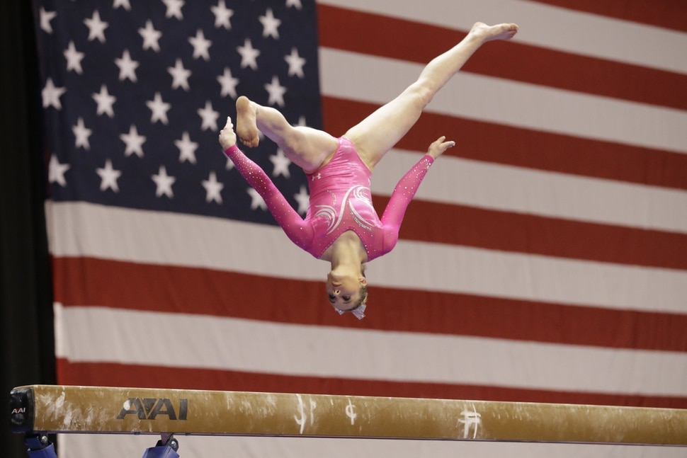 MyKayla Skinner performs on the beam during the American Cup gymnastics competition Saturday, March 7, 2015, in Arlington, Texas. (AP Photo/LM Otero)