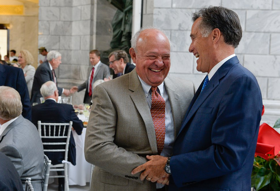 Francisco Kjolseth | The Salt Lake Tribune Lane Beattie, left, head of the Utah Chamber of Commerce, meets with former Governor Mitt Romney as the University of Utah officially launches the formation of the Kem C. Gardner Policy Institute at the University of Utah, during a luncheon at the Utah Capitol on Wed. Sept. 2015. Named in honor of businessman and philanthropist Kem Gardner, the institute aims to gather thought leaders to help develop public policy to better serve Utah.