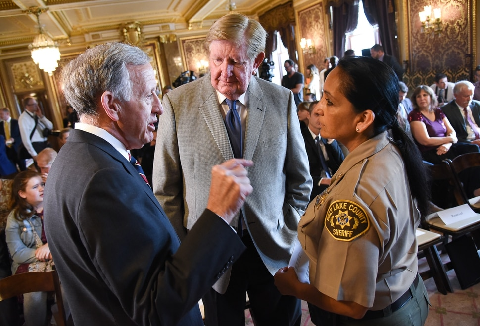 (Francisco Kjolseth | The Salt Lake Tribune) Attorney Jim Jardine, Kem Gardner and Sheriff Rosie Rivera speak ahead of an announcement by supporters and opponents of UtahÕs medical marijuana initiative who joined with Utah Gov. Gary Herbert and legislative leaders Thursday, Oct. 4, 2018, at the Utah Capitol to announce a Òshared visionÓ for cannabis policy.