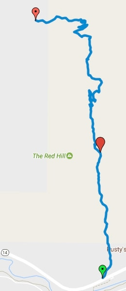 | courtesy Google Maps The Red Hollow Trail begins along State Road 14 and travels north. It connects with the Thor's Hideout Trial and finishes in Thunderbird Gardens.