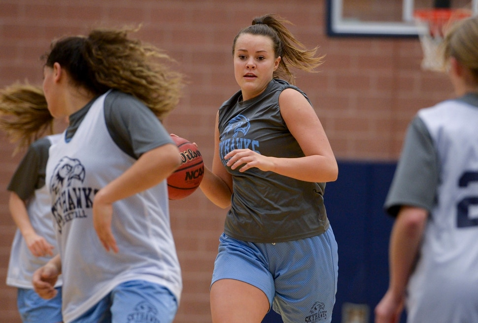 (Leah Hogsten | The Salt Lake Tribune) Basketball player Lauren Gustin is averaging double points and double rebounds during games at center for the Salem Hills girls' basketball team. Gustin has committed to play for University of Idaho next fall.
