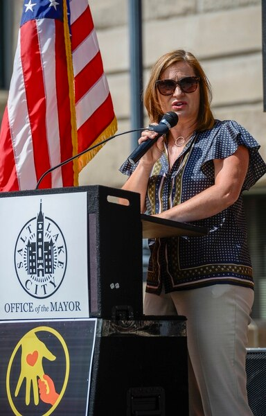 (Leah Hogsten | The Salt Lake Tribune) Salt Lake County Mayor Jenny Wilson speaks during Saturday's Rise For Refuge resource fair and call for action on the steps of the Salt Lake City and County Building in response to the Trump AdministrationÕs refugee and immigration policies.