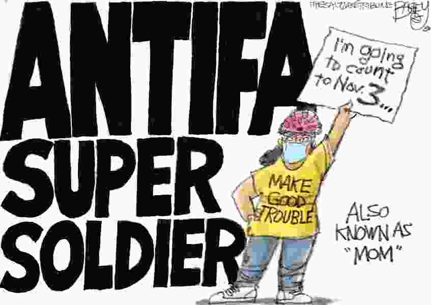 Bagley Cartoon: Antifa Super Soldier