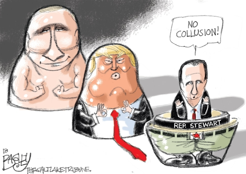This Pat Bagley cartoon appears in The Salt Lake Tribune on Thursday, March 16, 2018.