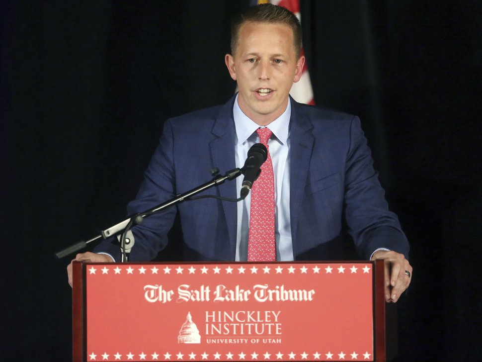 Republican candidate Tanner Ainge speaks during a debate at the Utah Valley Convention Center Friday, July 28, 2017, in Provo, Utah. Republican candidates, John Curtis, Chris Herrod and Ainge, vying for the seat vacated by U.S. Rep. Jason Chaffetz, debated on topics ranging from health care to religious freedom. (AP Photo/Rick Bowmer)