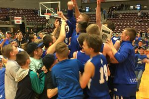 Tom Wharton  |  For The Tribune The Panguitch boys' basketball team celebrates winning the Class 1A state title Saturday at the Sevier Valley Center in Richfield.