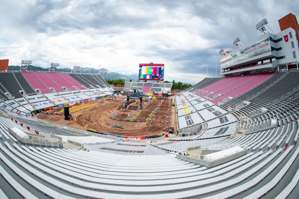 Feld Entertainment Global Public Relations (Feld Entertainment) Salt Lake City's Rice-Eccles Stadium is devoid of spectators for Sunday's Supercross races as the series returns from a hiatus.