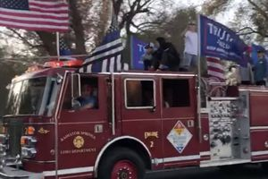 (Photo courtesy of the Weber Fire District)  The Weber Fire District got complaints after this firetruck displaying Trump flags was seen in Huntsville on Monday, Jan. 11, 2021. The district says it belongs to a private person, not a fire department.