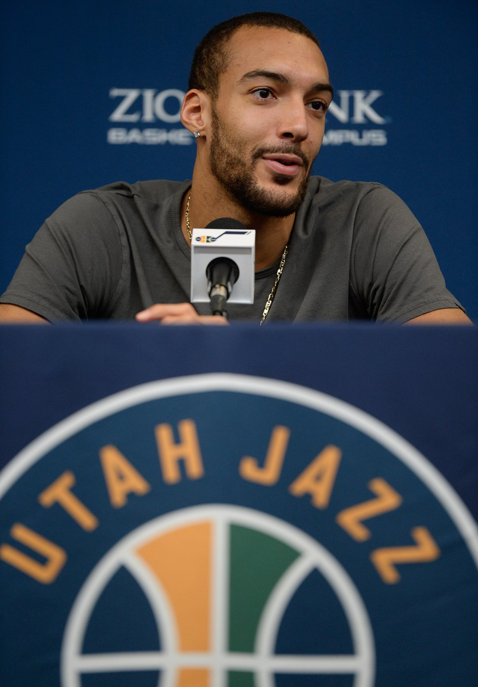 (Francisco Kjolseth | Tribune file photo) Rudy Gobert of the Utah Jazz speaks with the media following their season-ending game at the team practice facility on Thursday, April 25. 2019.