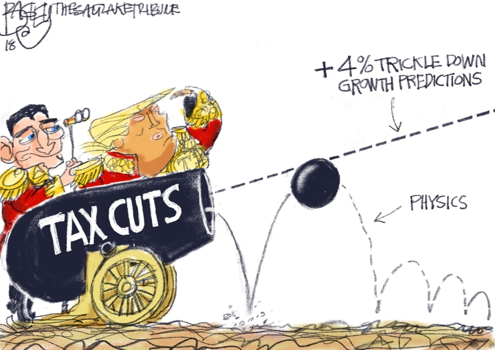 This Pat Bagley cartoon Physics for Dummies appears in The Salt Lake Tribune on Sunday, July 29, 2018.