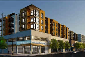 (Rendering by AE Urbia Architects and Engineers, via Salt Lake City) Rendering of Coachman Mixed Use, a 112-condominium and retail development project proposed at 1301 S. State Street in Salt Lake City, to replace the now-closed Coachman's Dinner & Pancake House and adjoining retail outlets to the south.