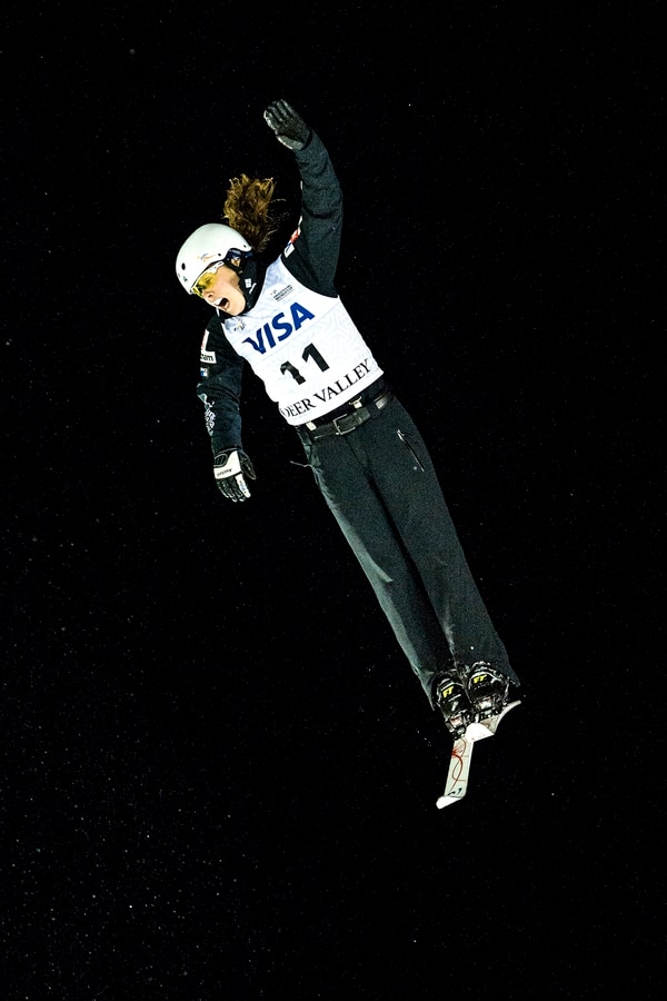 (Chris Detrick | The Salt Lake Tribune) USA's Ashley Caldwell (11) competes in the Ladies' Aerial Finals during the FIS Visa Freestyle International Ski World Cup at Deer Valley Resort Friday, January 12, 2018. Caldwell finished in seventh place.