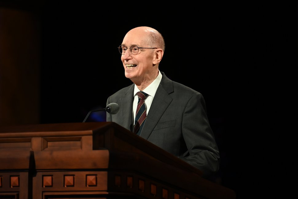 (Photo courtesy of The Church of Jesus Christ of Latter-day Saints) President Henry B. Eyring, second counselor in the First Presidency, speaks at Sunday afternoon's General Conference session Oct. 4, 2020.