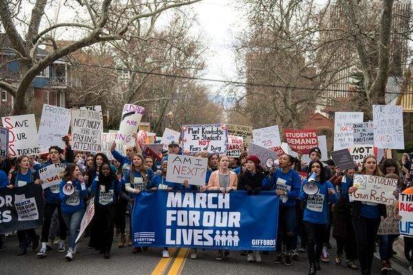 (Chris Detrick | The Salt Lake Tribune) Participants march from West High School to the state Capitol during the March for Our Lives SLC Saturday, March 24, 2018. The student-led March for Our Lives SLC got underway about 11:30 a.m. with what police estimated were 8,000 participants walking from Salt Lake City's West High School to the front steps of the Capitol.