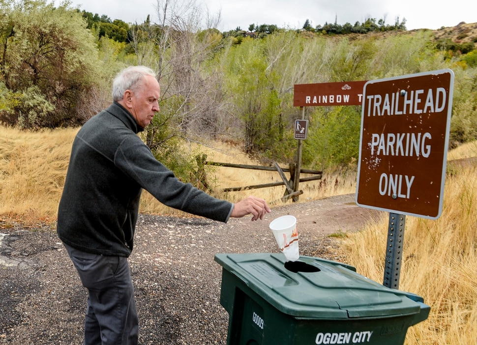 Leah Hogsten | The Salt Lake Tribune ÒTrail users donÕt seem to be able to find the [garbage] cans, said Rainbow Gardens owner Bill King of those who use his parking lot as he picks up litter to throw away in one of two trash cans next to the trailheads. King and his siblings own acreage at the mouth of Ogden Canyon, land that encompasses their restaurant and gift shop and trailheads to half a dozen hiking and biking trails, Oct. 10, 2018.