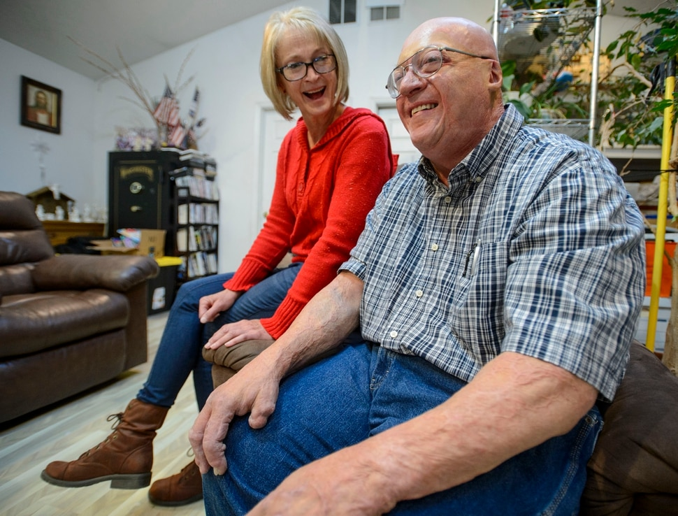 (Steve Griffin | The Salt Lake Tribune) Janet Tayon and her husband, Leonard Tayon, in their Grantsville home. Leonard Tayon was severely burned at U.S. Magnesium in 1992 and spent months in the University of Utah Burn Center. He feels it's important for medicine to continue to improve burn treatments for patients and their families.