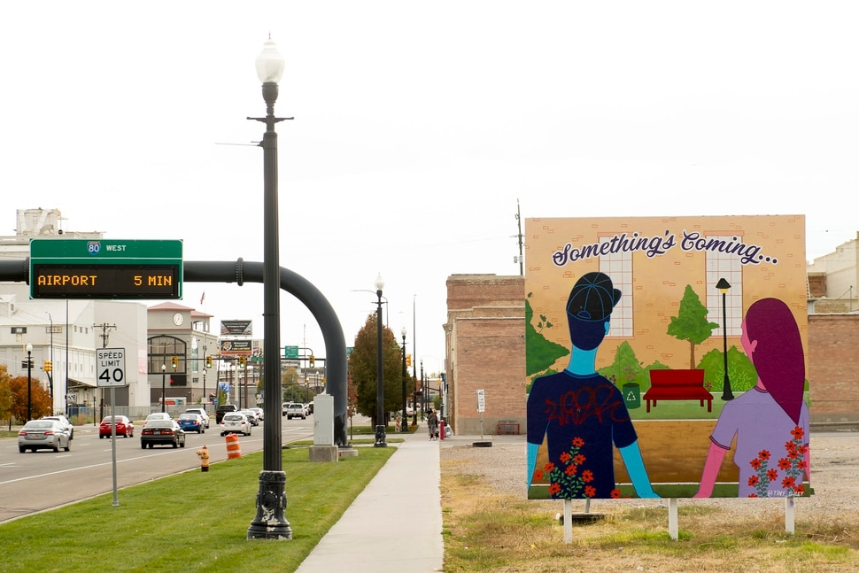 (Jeremy Harmon | The Salt Lake Tribune) A colorful sign alludes to things to come as developers plan to remake a 12.4-acre area just west of downtown Salt Lake City. The development, called Post District, is mostly comprised of the block between 300 and 400 West and 500 and 600 South. Photographed on Thursday, Oct. 17, 2019.