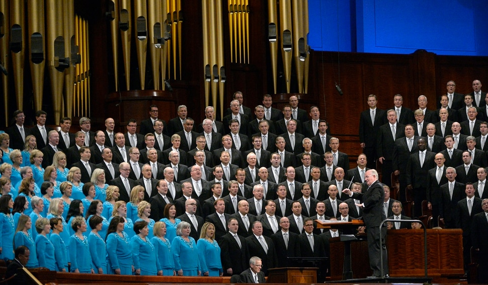 (Al Hartmann | The Salt Lake Tribune) Conductor Mack Wilberg leads the Mormon Tabernacle Choir in song during General Conference Sunday Oct. 1 2017.