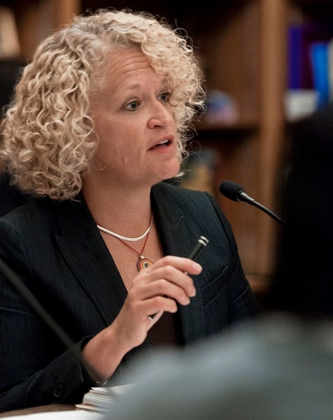 (Michael Mangum | Special to the Tribune) Salt Lake Mayor Jackie Biskupski speaks during a meeting of the Salt Lake City Human Rights Commission at City Hall in Salt Lake City on Thursday, November 30, 2017.