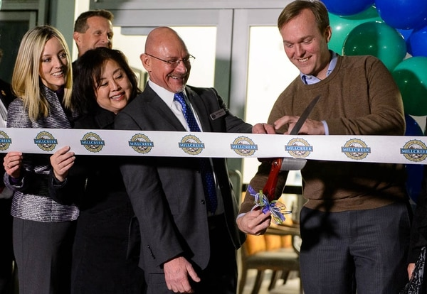 (Trent Nelson | The Salt Lake Tribune) Millcreek City Mayor Jeff Silvestrini and Salt Lake County Mayor Ben McAdams cut the ribbon as the City of Millcreek celebrates its first birthday party and grand opening of its City Hall, Wednesday January 10, 2018.