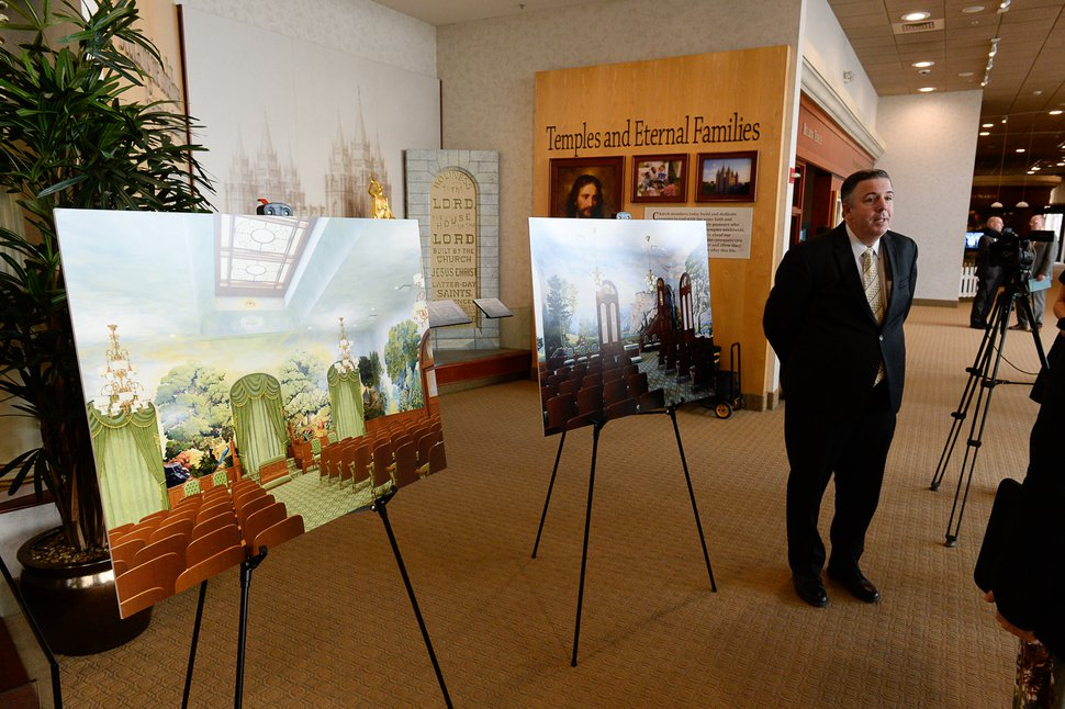 (Francisco Kjolseth | The Salt Lake Tribune) Andy Kirby, director of historic temple renovations in the special projects department, joins other representatives from The Church of Jesus Christ of Latter-day Saints by giving insights into plans for extensive temple renovations set to close the temple Dec. 29, 2019, through 2024. Parts of the Temple Square Plaza are also set to be renovated. At left are renderings of the Garden Room and World Room.